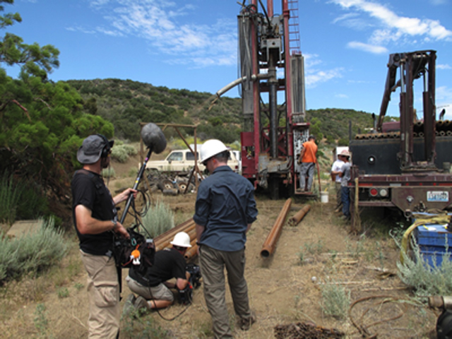 Photo:Film crew shoots drilling operations on San Jacinto Fault in California