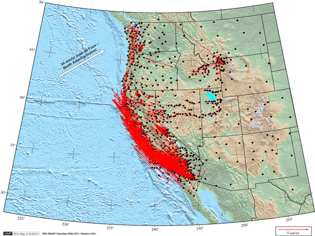 Photo:Western U.S. velocity field from the PBO network, 2005-2011